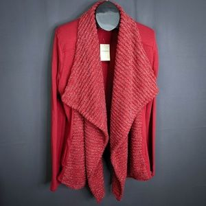 Lucky Brand Sweater Size XL Red Sparkle Women Open